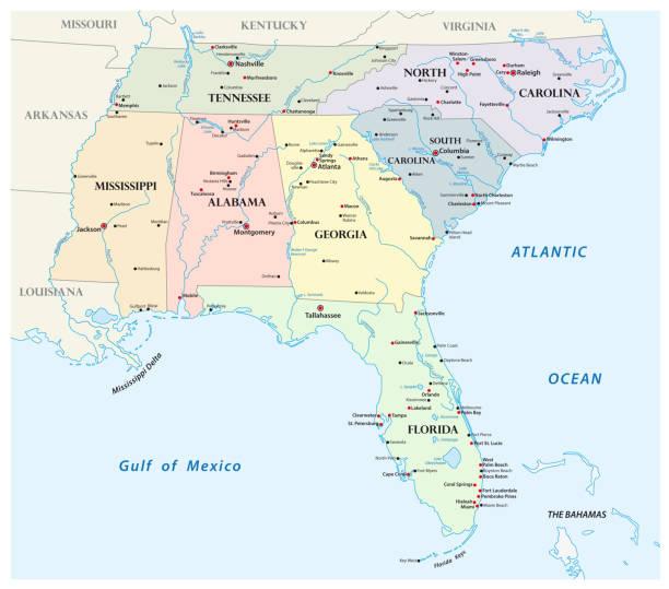 stockillustraties, clipart, cartoons en iconen met administratieve vectorkaart van de staten van het zuidoosten van de verenigde staten - zuidoost