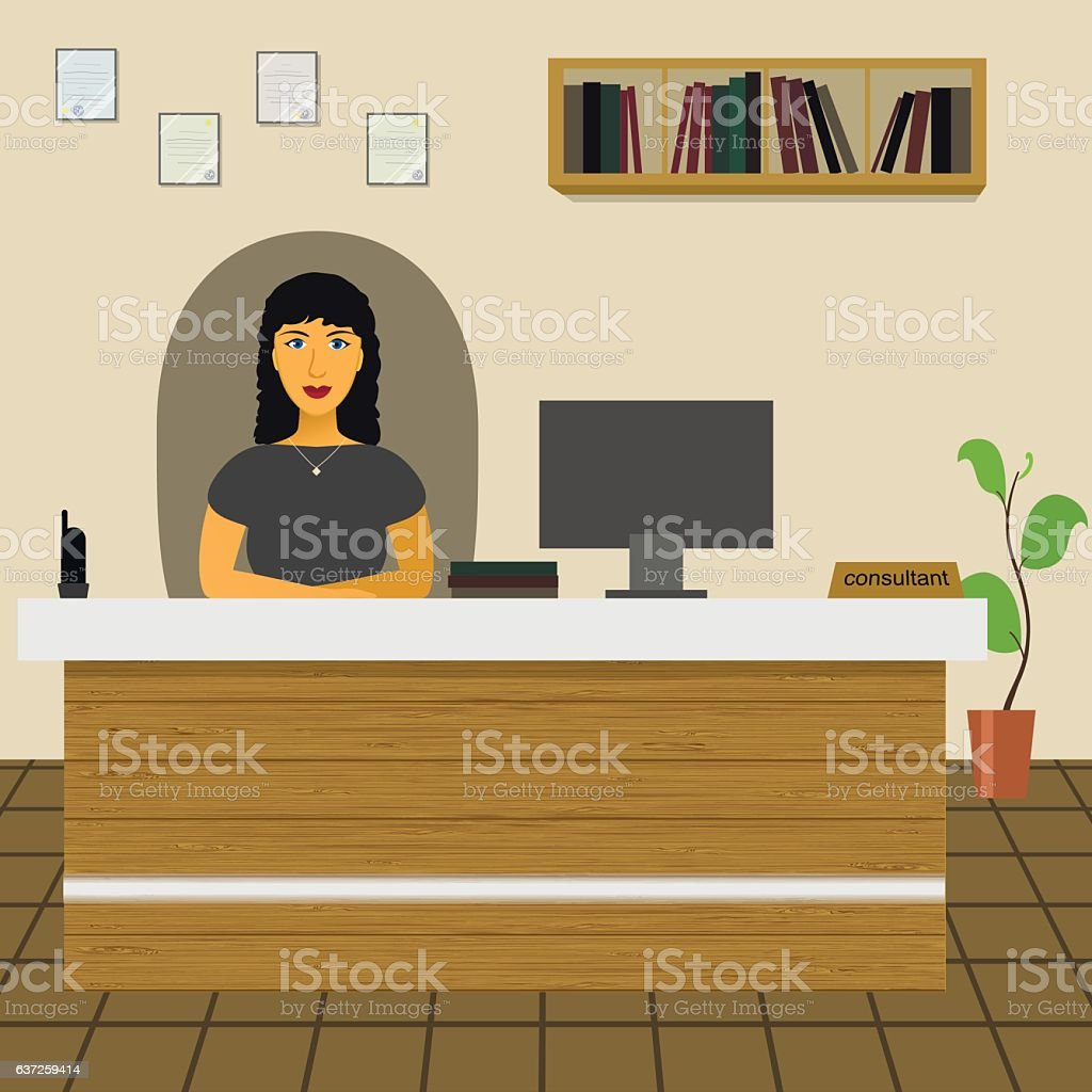 administrator  office worker  secretary  director sitting in the office - illustrazione arte vettoriale