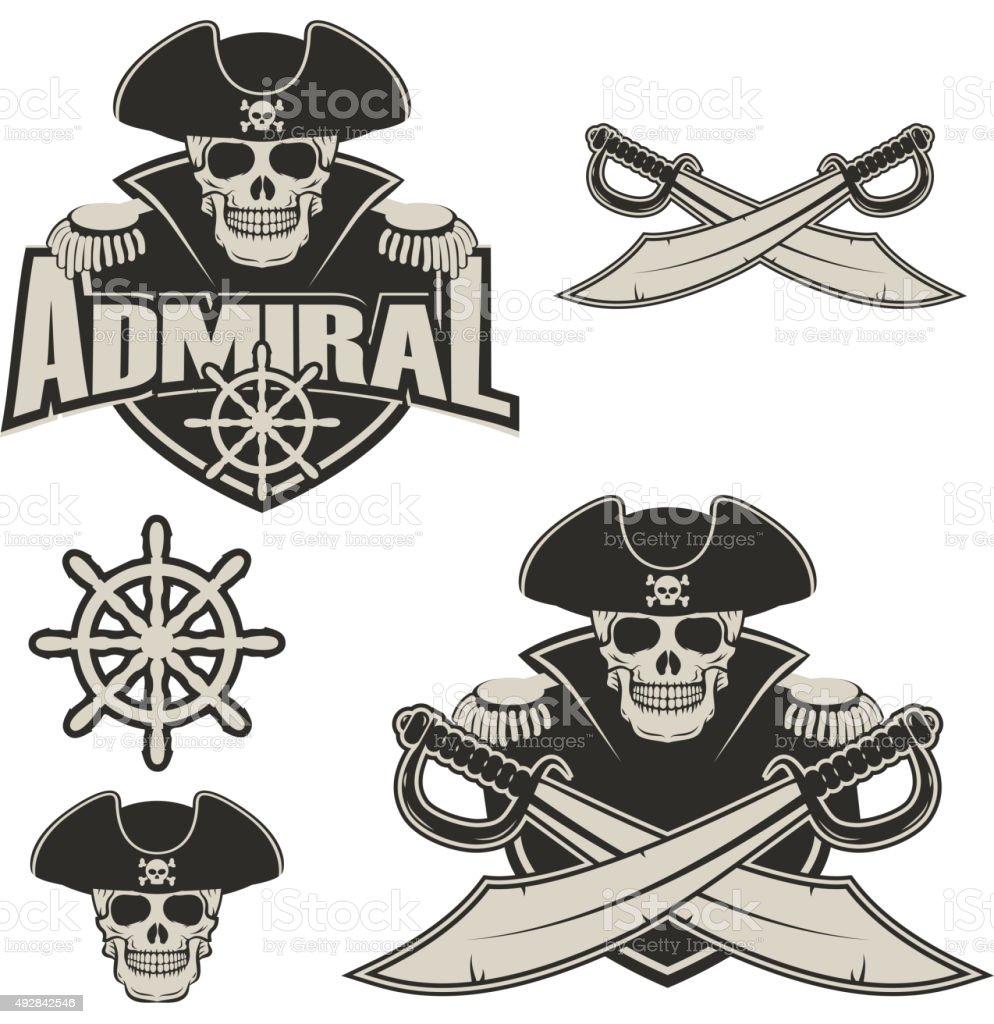 admiral vector art illustration