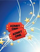 Admission Tickets on Fiber Optic Background with Stars