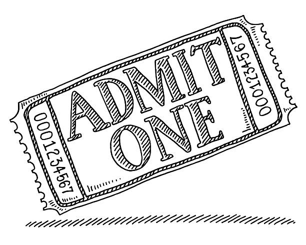 Admit One Admission Ticket Drawing Hand-drawn vector drawing of an Admit One Admission Ticket. Black-and-White sketch on a transparent background (.eps-file). Included files are EPS (v10) and Hi-Res JPG. admit one stock illustrations