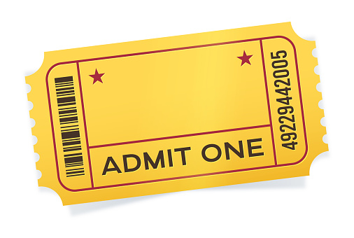 Admit one yellow event ticket angled with space for copy.