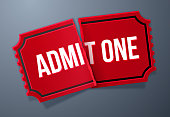 Admit one torn red movie or event ticket angled design.