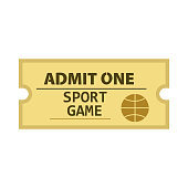 Admit one sport game ticket vector. Basketball match, competition, stadium. Tickets concept. Vector illustration can be used for topics like entertainment, leisure, sport