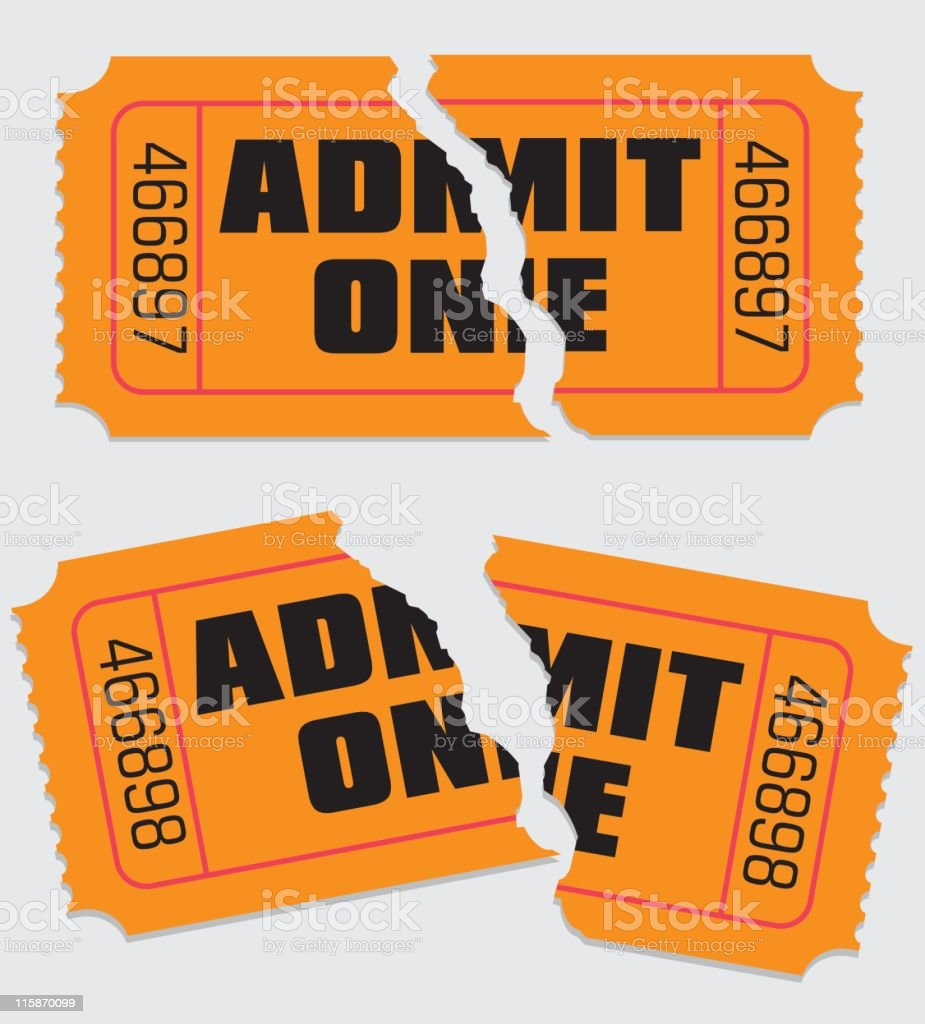 Admit One Ticket Torn vector art illustration