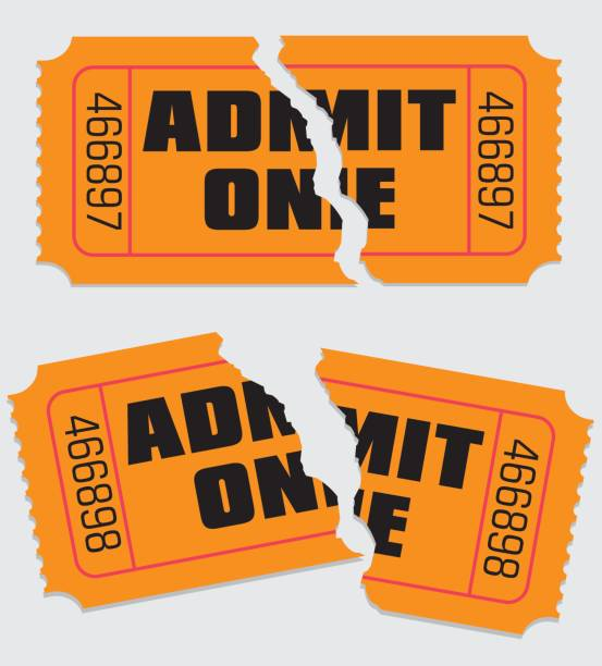Admit One Ticket Torn Variation of one of my previous vectors. This time it is of two torn admit one tickets admit one stock illustrations