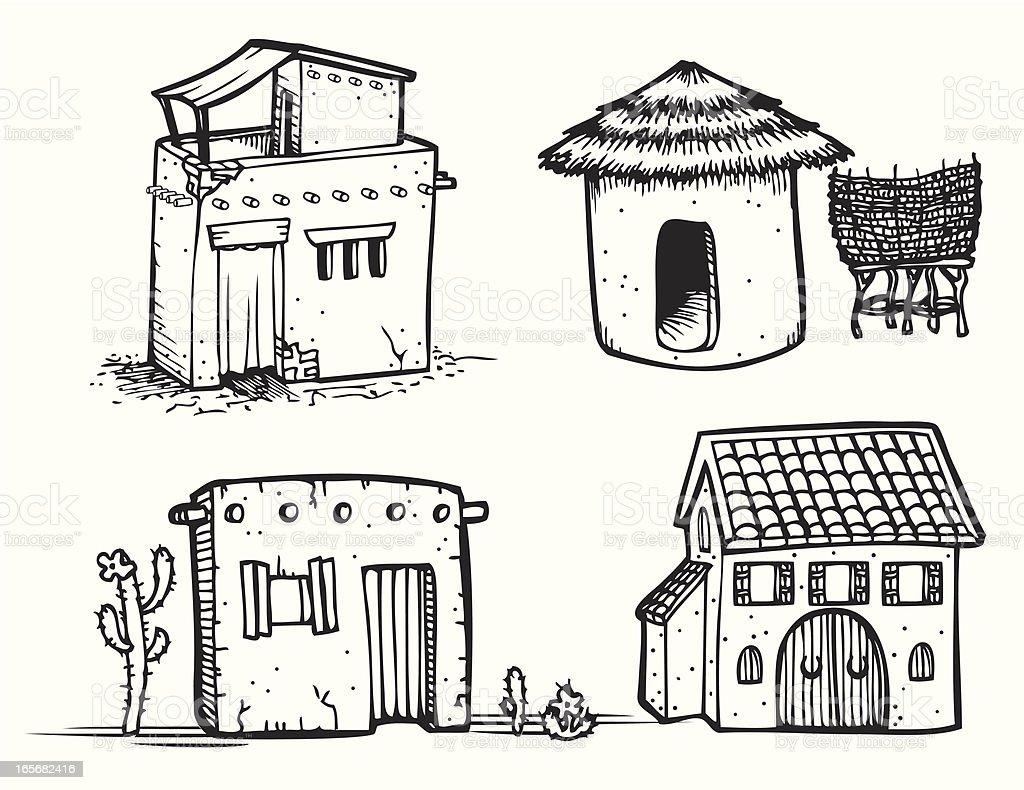 Adobe Houses - Line Art vector art illustration