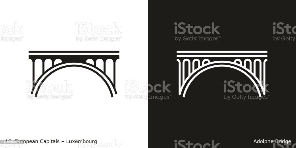 Adolphe Bridge, Luxembourg vector art illustration