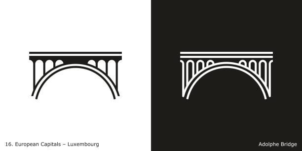 adolphe bridge, luxembourg - bridge stock illustrations