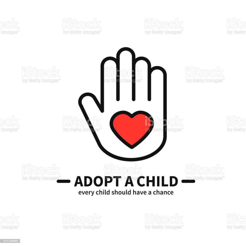 Adopter un enfant. Main avec coeur ligne icône. Aide bénévole soins Protection Support thème. Enfant Adoption signe et le symbole. - Illustration vectorielle
