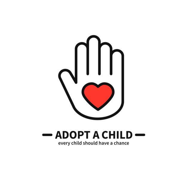 adoptieren sie ein kind. hand mit herz-line-symbol. freiwillige hilfe pflege schutz unterstützung thema. kind-annahme-zeichen und symbol. - adoption stock-grafiken, -clipart, -cartoons und -symbole