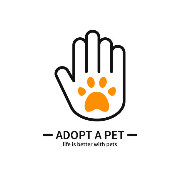 Adopt a Pet. Hand with Paw Line Icon. Volunteer Help Care Protection Support Theme. Pet Adoption Sign and Symbol. Adopt a Pet. Hand with Paw Line Icon. Volunteer Help Care Protection Support Theme. Pet Adoption Sign and Symbol animal shelter stock illustrations