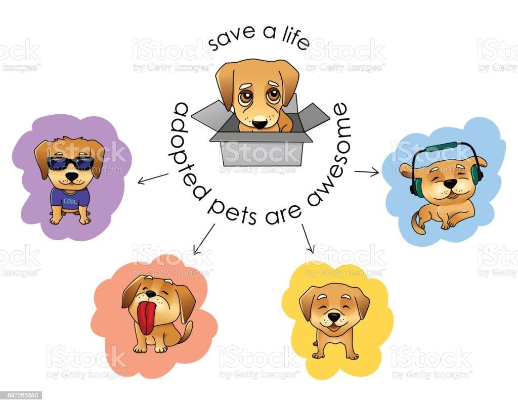 Adopter une illustration vectorielle pour animaux de compagnie - Illustration vectorielle