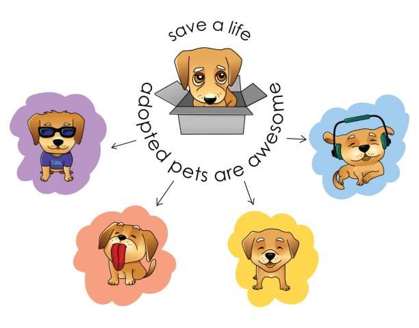 adoptieren sie eine haustier vektor-illustration - adoption stock-grafiken, -clipart, -cartoons und -symbole