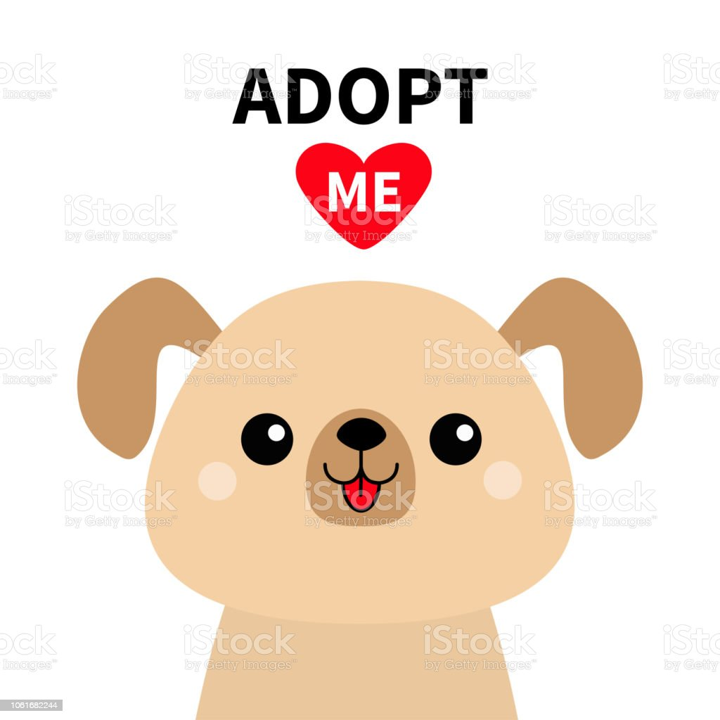 Adopt Me Cute Dog Face Silhouette Red Heart Pet Adoption Kawaii Animal Cute Cartoon Puppy Character Funny Baby Pooch Help Homeless Animal Flat Design White Background Stock Illustration Download Image Now