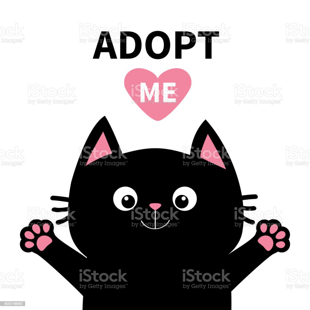 Adoptez-moi ne pas acheter. Tête de face pour le chat noir coeur de rose, impression silhouette de patte. Personnage de dessin animé mignon. Aide concept animaux adoption animal plat design fond blanc. Isolé - Illustration vectorielle