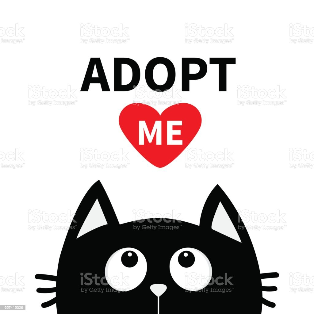 Adopt me. Dont buy. Red heart. Black cat face head silhouette looking up. vector art illustration