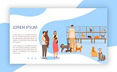 Adopt pets, characters couple, male and female take dog, cat, help abandoned animal, flat vector illustration. Man hug dog, woman hold cat. Concept design web banner, page, landing.