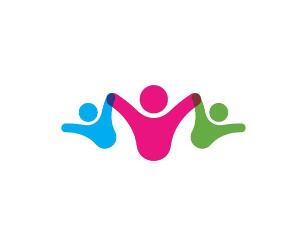 stockillustraties, clipart, cartoons en iconen met adoptie en gemeenschapszorg logo sjabloon vector - sociale dienst