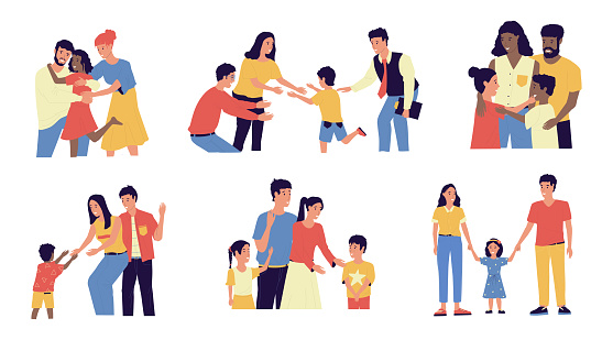 Adoption. Cartoon couple adopt happy international kids. Scenes of cheerful foster parents. Caring for orphan. Mother and father hugging children. Vector multiracial families illustration