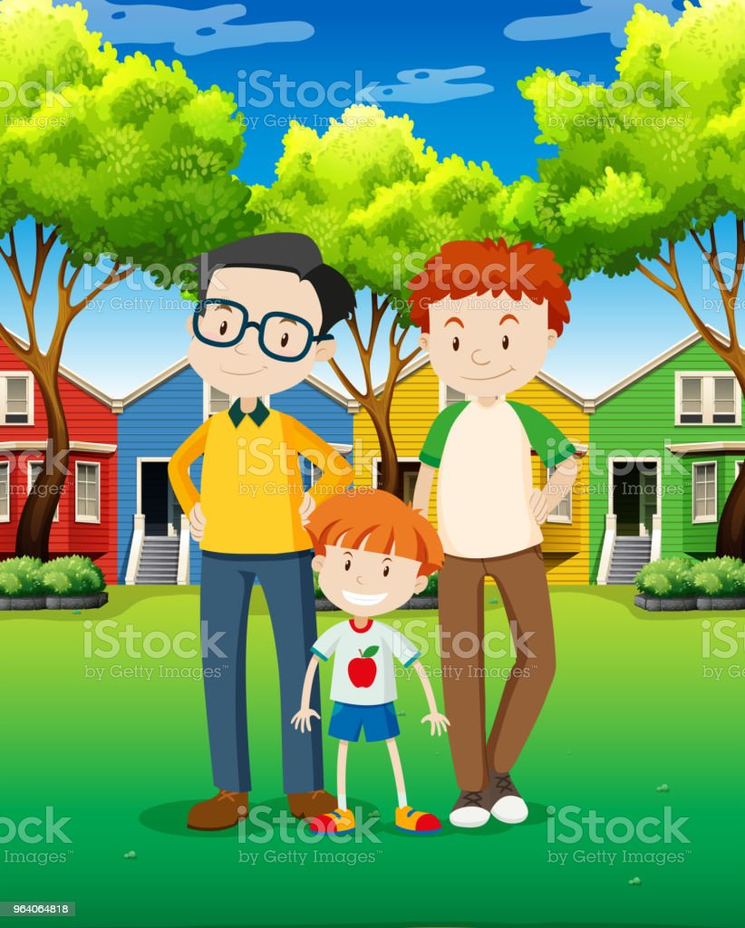LGBT Adoption Family at Village - Royalty-free Adoption stock vector