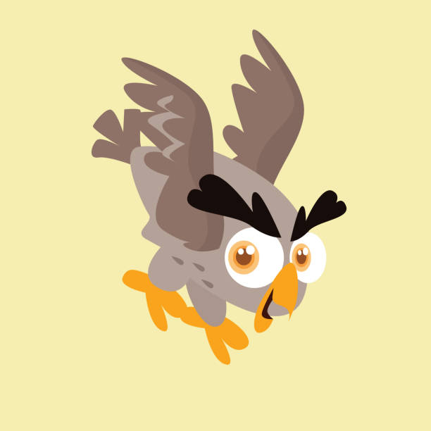 adorable and cheerful little eagle-owl - eagle character stock illustrations, clip art, cartoons, & icons