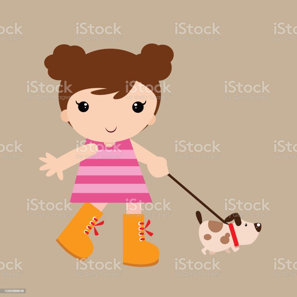 Adorable Et Joyeuse Petite Fille Avec Son Chien Chiot