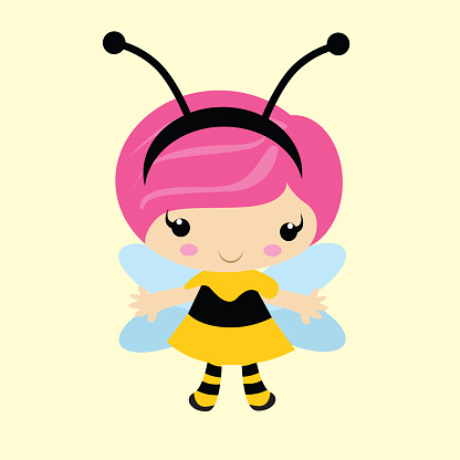 adorable and cheerful little girl with pink hair wearing fairy costume, cartoon character