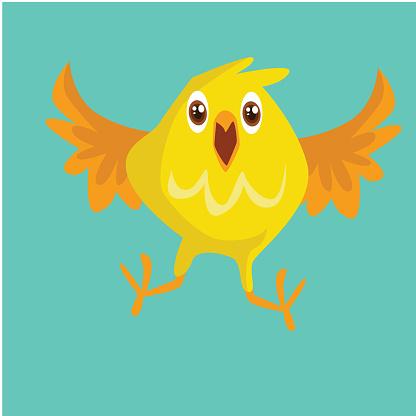 adorable and cheerful little yellow bird, cartoon character