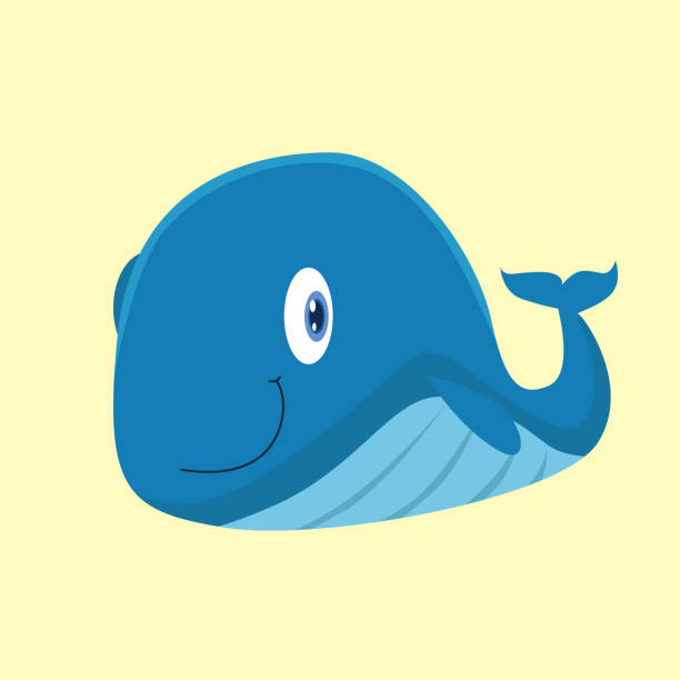 adorable and cheerful of smiling blue whale, cartoon character vector art illustration