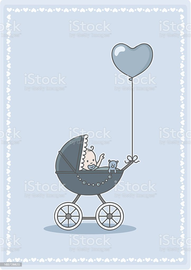 adorable baby boy in the stroller with heart balloon vector art illustration