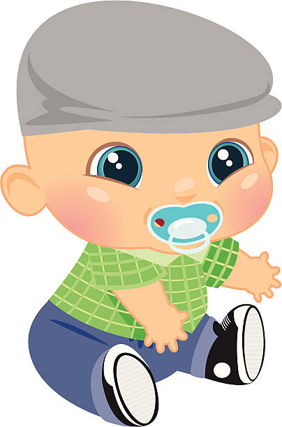 adorable baby boy - plaid shirt stock illustrations