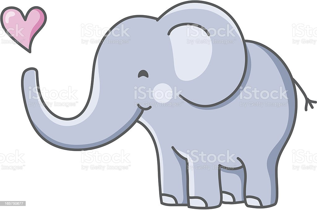 Adorable Baby Elephant With Heart Stock Vector Art More