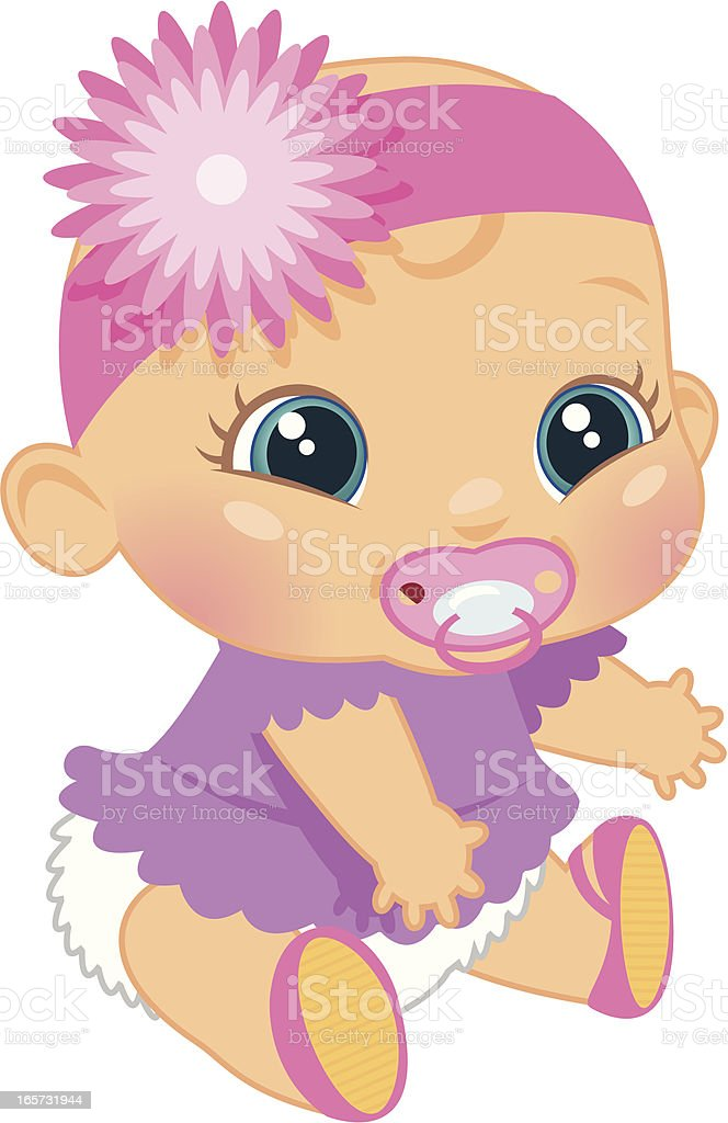 Adorable Baby Girl vector art illustration
