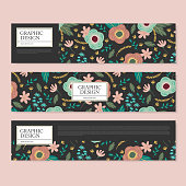 adorable banner design with lovely flower element over black background