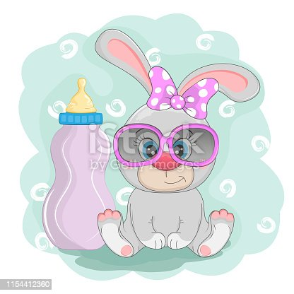 Adorable beautiful cartoon bunny with feeding bottle.