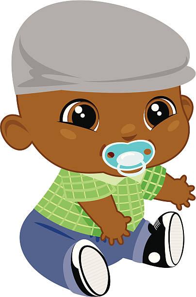adorable black baby boy - plaid shirt stock illustrations