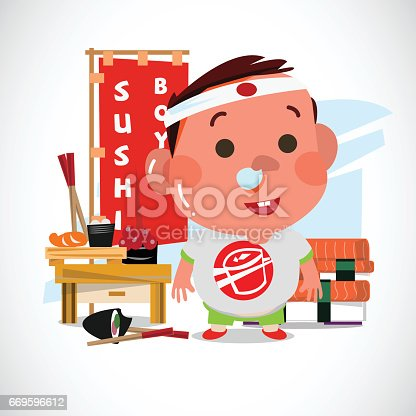 Adorable boy with sushi. Character design. Sushi lover concept - vector