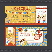 adorable cartoon birthday party invitation template
