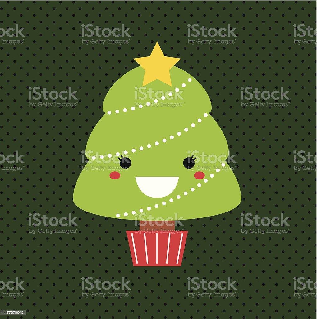Immagini Natalizie Kawaii.Adorabile Fumetto Natale Kawaii Albero Isolato Su Sfondo A Pois