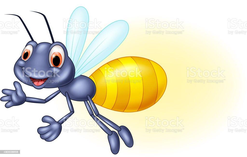 Adorable cartoon firefly waving vector art illustration