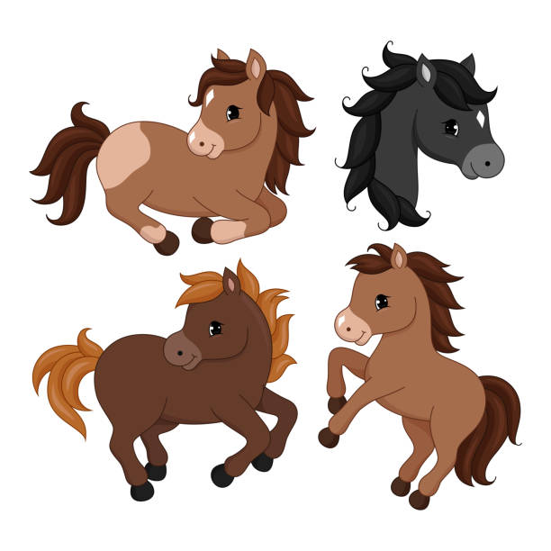 adorable cartoon horse character. - pony stock illustrations