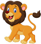 Adorable cartoon lion walking isolated on white background
