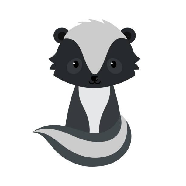 Adorable cartoon sitting skunk. Adorable cartoon sitting skunk. Vector illustration isolated on white background. skunk stock illustrations