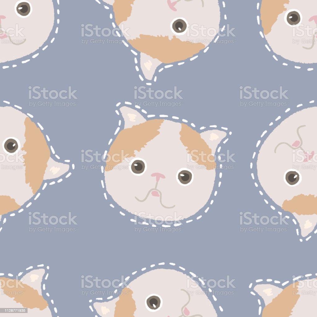 愛らしい猫のシームレスなパターン子猫文字かわいい動物イラスト
