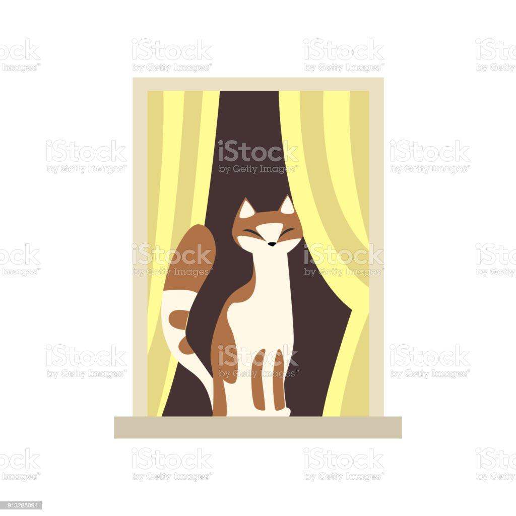 entz ckende katze auf der fensterbank sitzen abisolierten vorh nge am fenster haustier. Black Bedroom Furniture Sets. Home Design Ideas