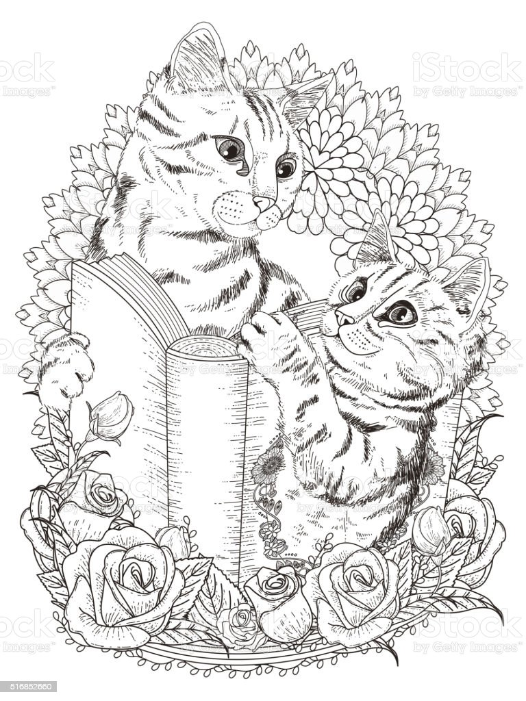 Adorable Cats Coloring Page Stock Vector Art More Images Of