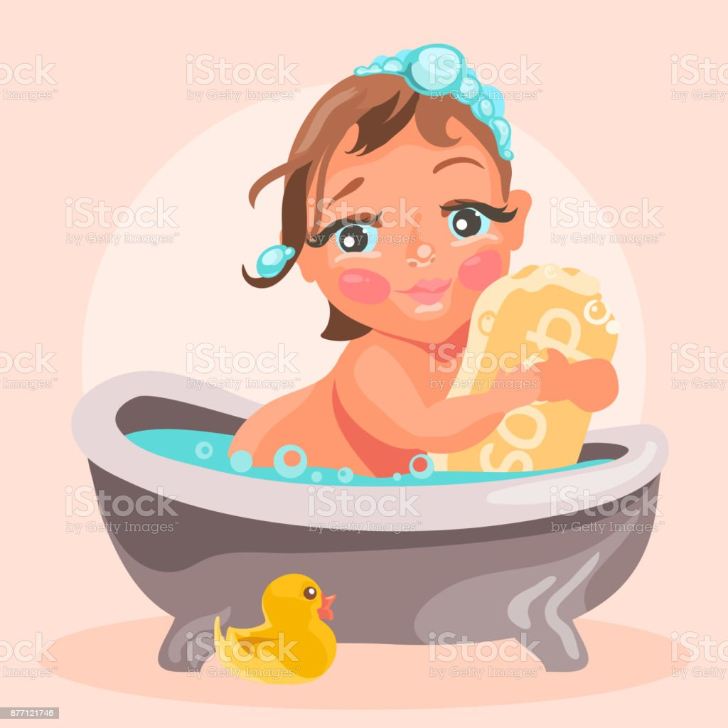 Adorable Cute Baby In The Bathtub With Bubbles stock vector art ...