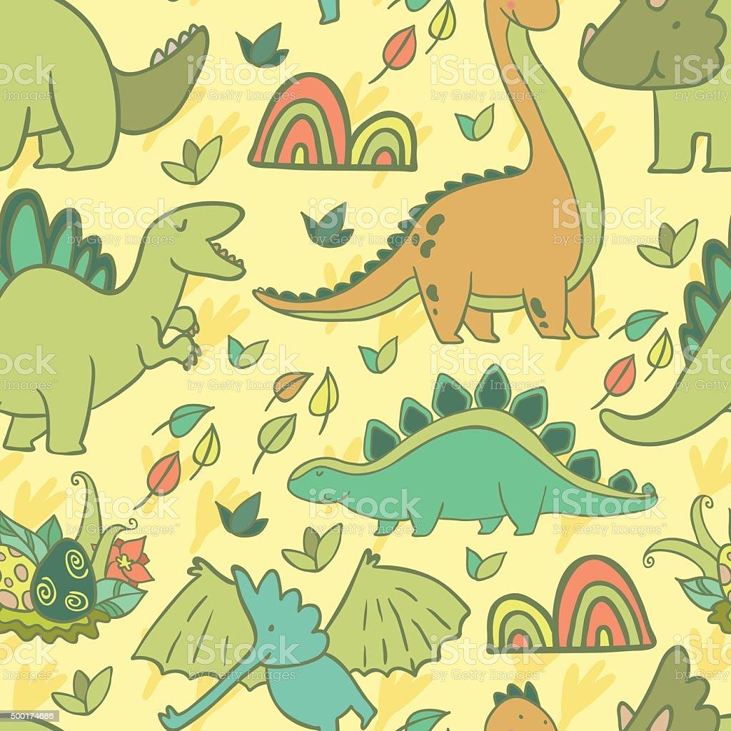 Ilustración de Encantadores Dinosaurios Patrón Sin Costuras Para ...