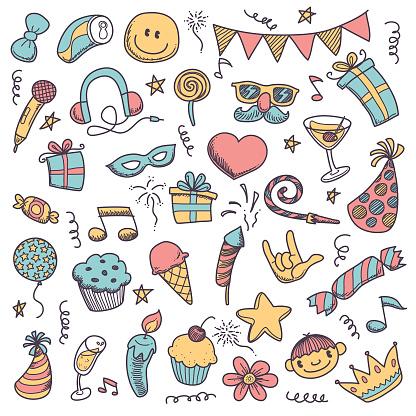 adorable doodle party icon set